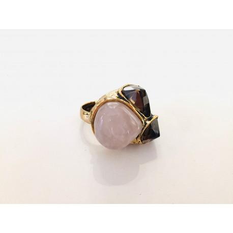 Alcozer anello quarzo fumè e quarzo rosa